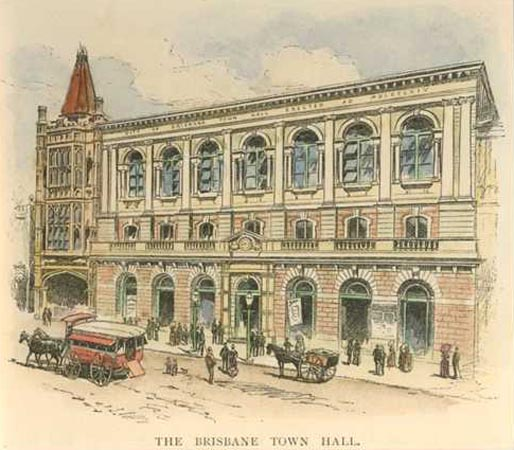 Brisbane Town Hall, in Queen Street. Engraving c1886.