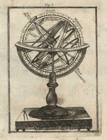 Antique Sphere. Armillary Sphere engraving c1685 by Mallet
