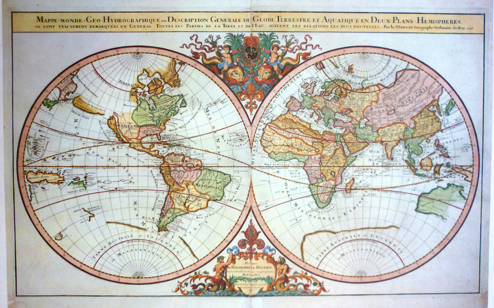 Decorative large World Map (1696) by Jaillot/Sanson. Reproduction print.