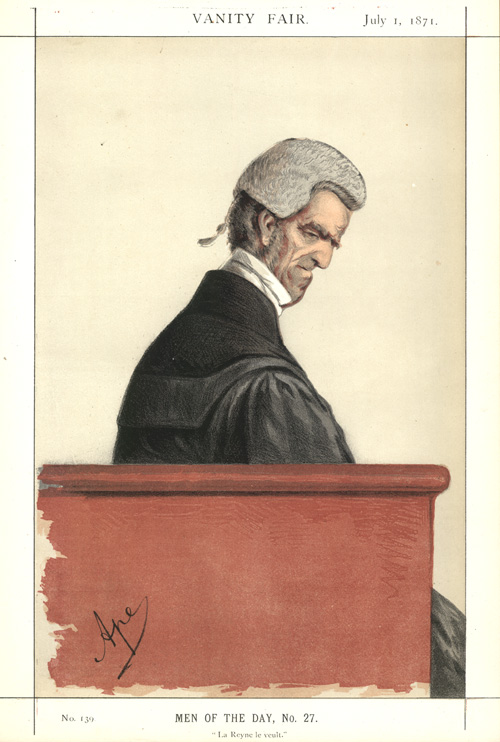"Legal caricature, ""La Reyne le veult."" (""Queen's assent.."")"