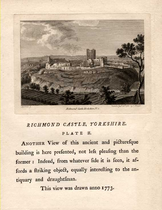 Grose engraving of Richmond Castle, Yorkshire with history c1785