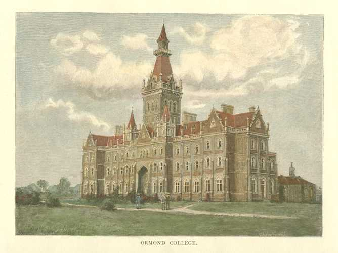 Ormond College, Victoria, Australia. Antique Print c1886