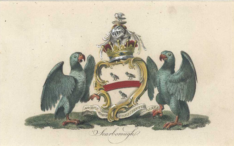 Heraldic Crest. Scarborough Coat of Arms antique print. Catton c1790
