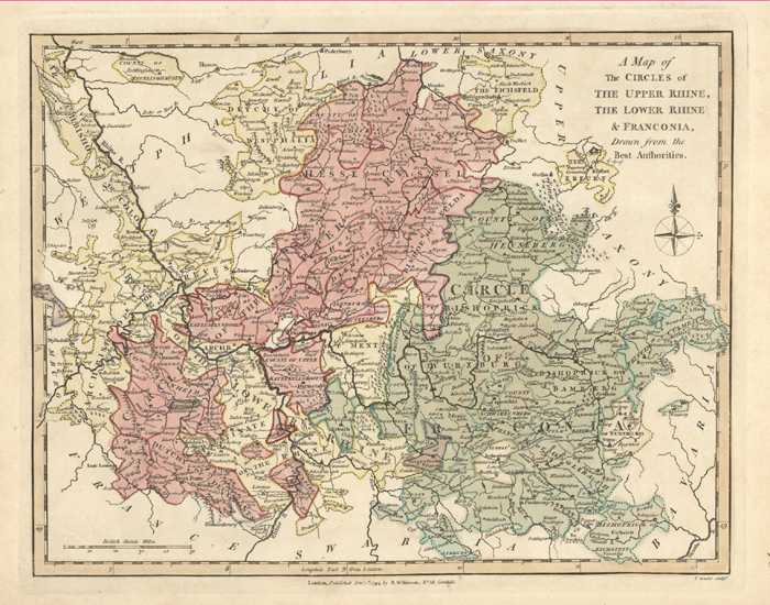 Circles of Upper Rhine, Lower Rhine & Franconia. Wilkinson map c1794