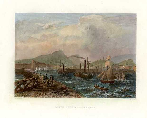 Leith Pier and Harbour, Scotland. Bartlett view. Finden c1842