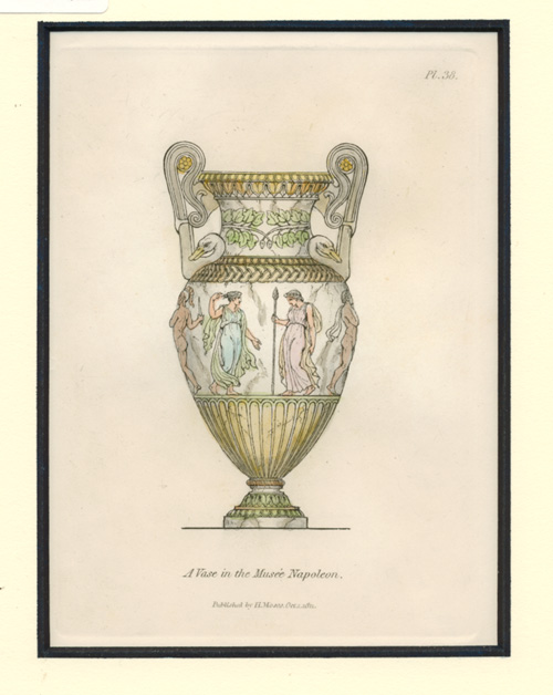 A Vase in the Musée Napoleon, antique print c1811.
