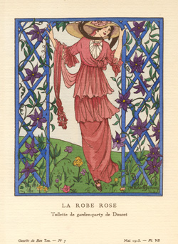 The Rose-coloured Dress. La Robe Rose. Gazette du Bon Ton c1913.