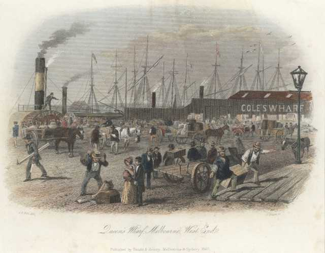 Queen's Wharf, Melbourne, West End. S.T.Gill Victoria engraving c1857.
