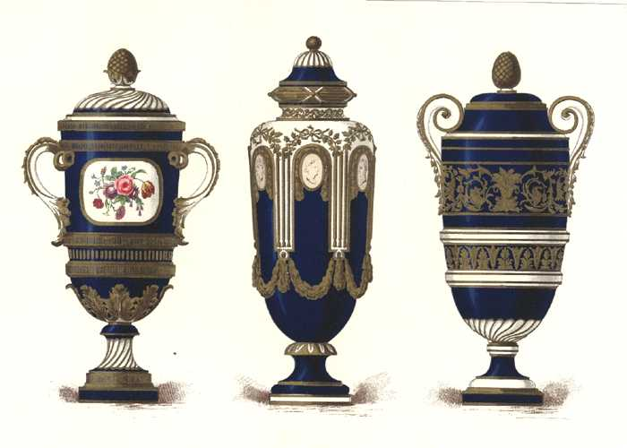Sevres Porcelain Vases. Centre, with cameo friezes. Antique print c1890