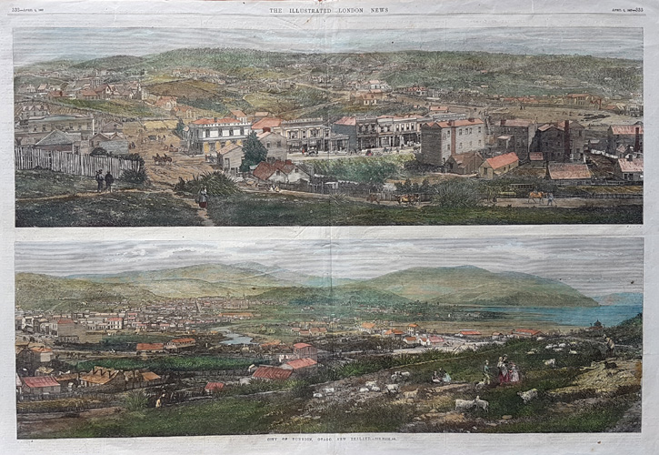 City of Dunedin, Otago, New Zealand. Large engraving c1867
