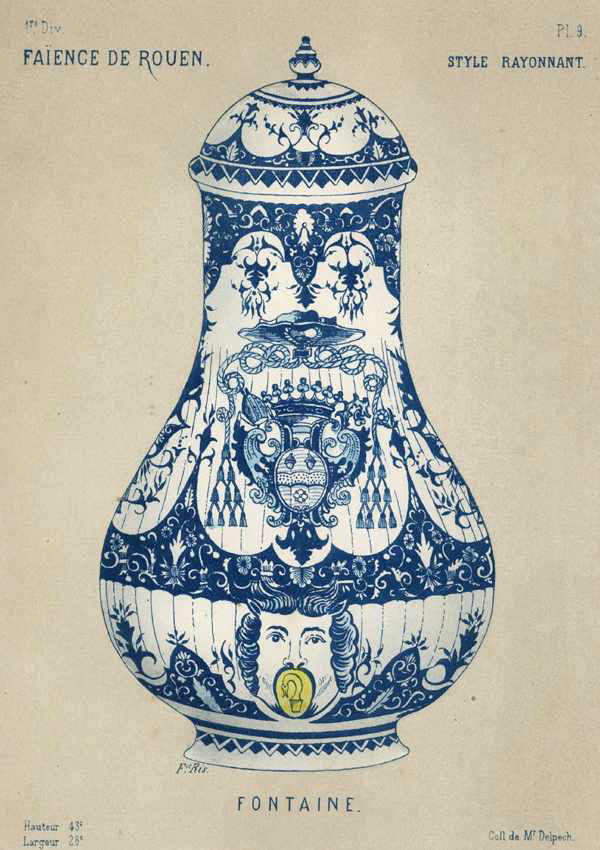 Faience Porcelain Fountain of blue & white with coat of arms. Antique Print c1870