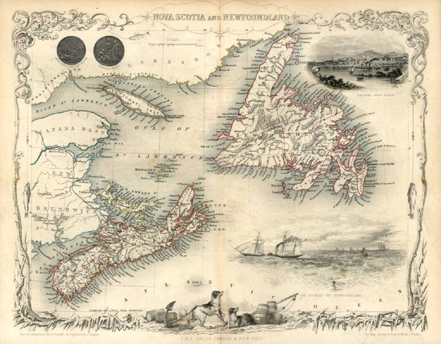 Nova Scotia and Newfoundland. First edition Tallis map c1850.