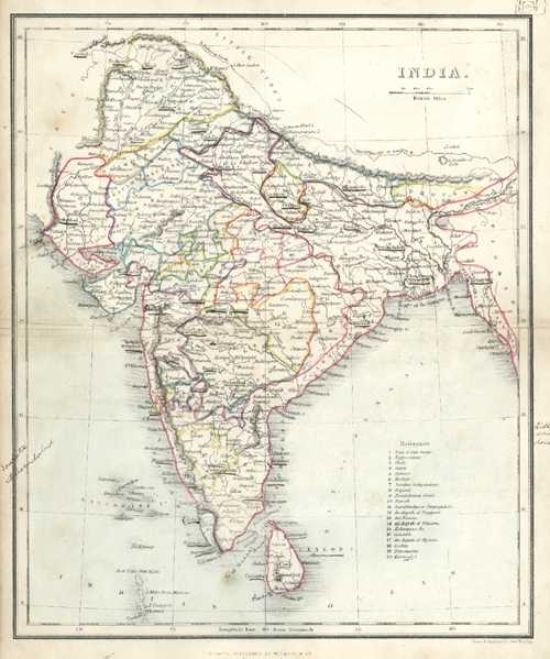 India Antique Map by Alex. Findlay published by W. Tegg c1853