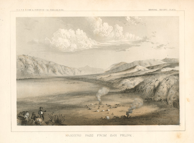 California. Warners Pass from San Felipe lithograph c1857.
