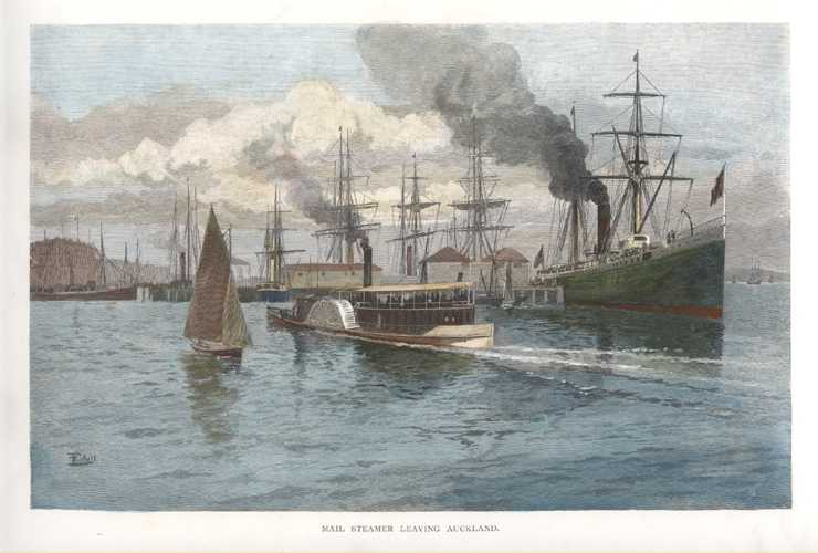 New Zealand Mail Steamer leaving Auckland Harbour. Engraving c1888
