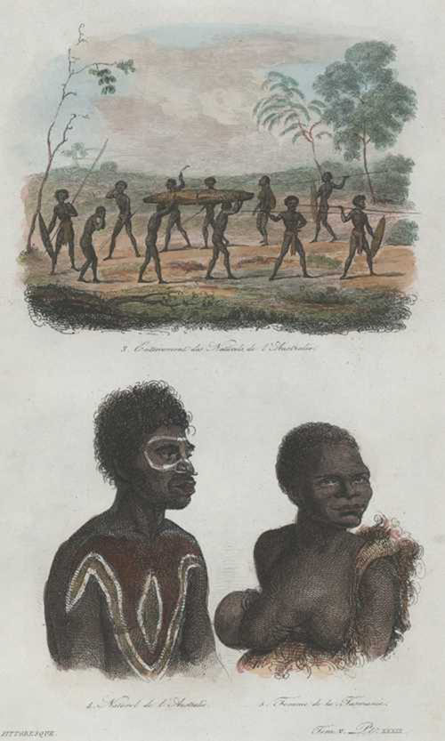 Aborigines. Burial Ceremony. Enterrement des Naturels de l'Australie. D'Urville c1834