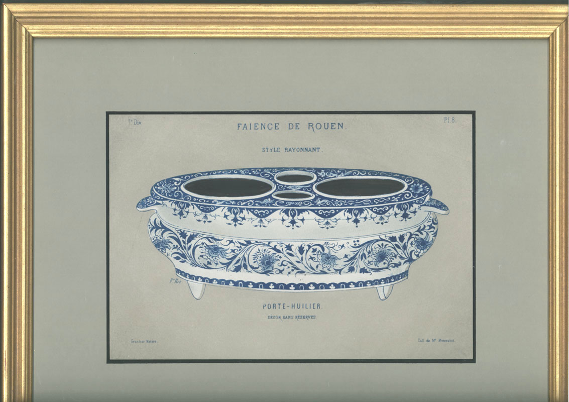 Framed Faience Porcelain Oil-Cruet lithograph c1870 for Eugene Delaroque.