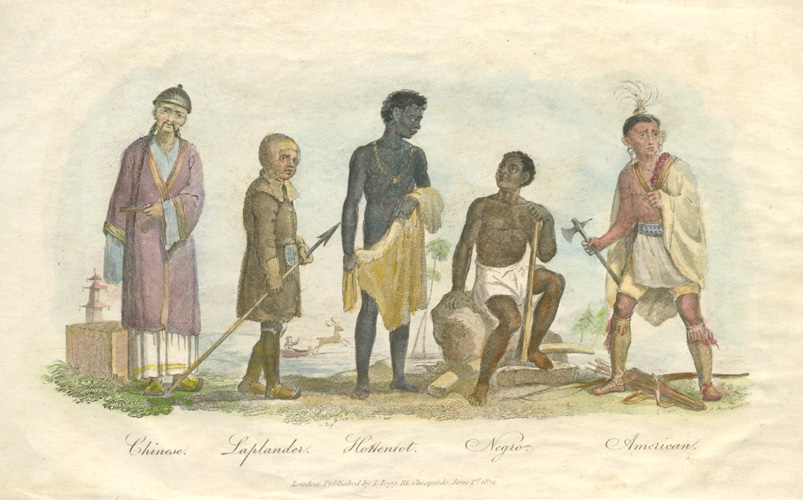 Ethnicity. Chinese, Laplander, Hottentot, Negro, American Indian. c1821