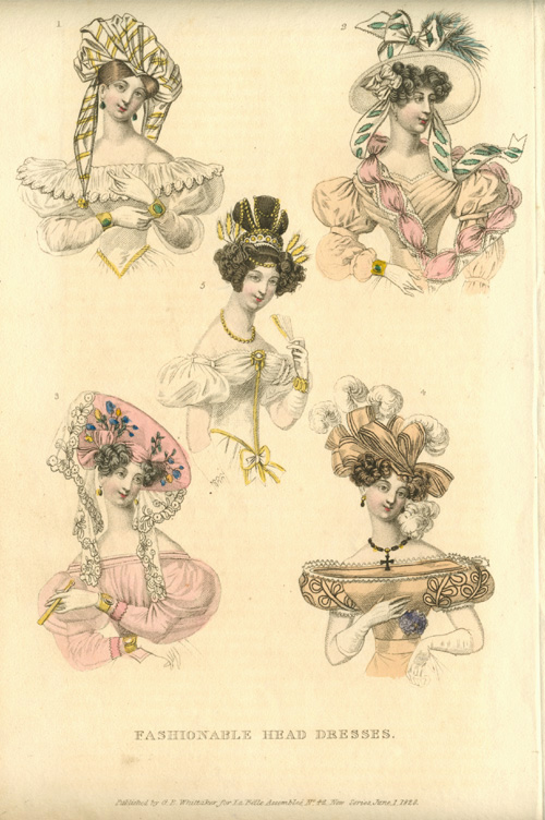 Millinery. Fashionable Head Dresses. Early 19th Century Hats.