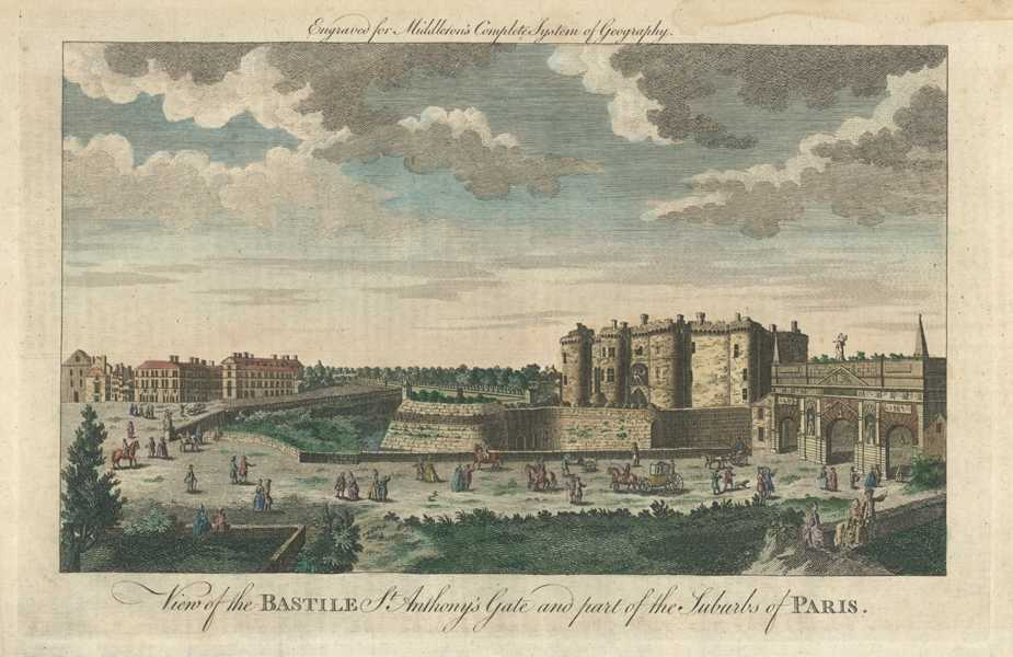 Paris, France. View of the Bastille. St Anthony's Gate. Middleton c1777