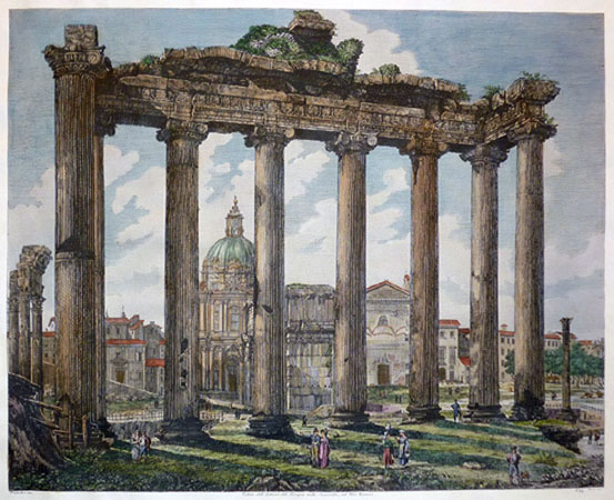 Temple of Saturn, also known as Temple of Concordia. Rossini print.