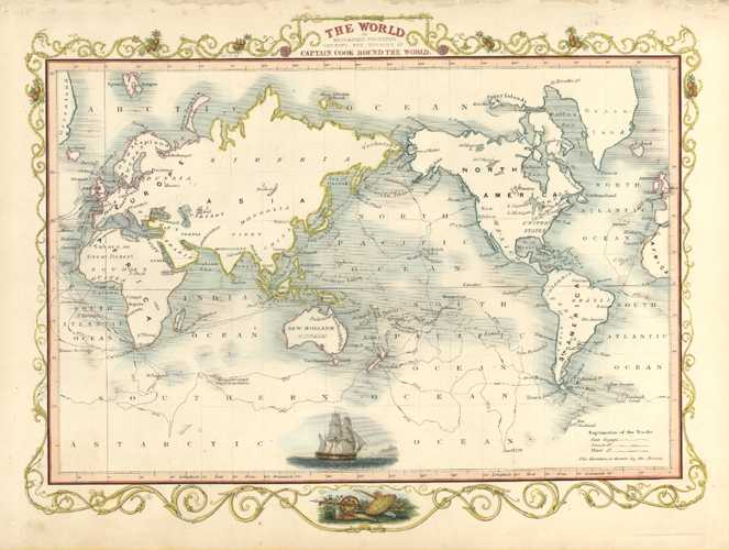 Captain Cook's Voyages. Tallis Map. World on Mercators Projection c1851
