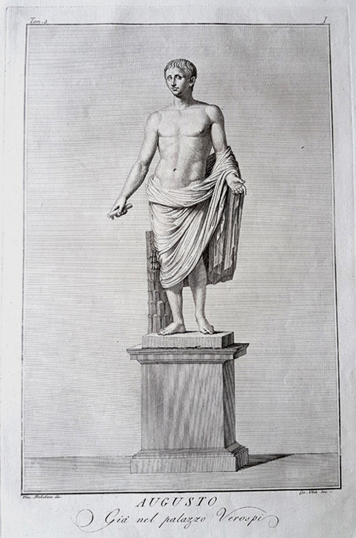 Augusto (Emperor Augustus) statue engraving after Dolcibene c1784.