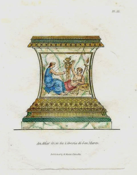 Altar in St. Mark's Library. Antique print engraved by Henry Moses c1811