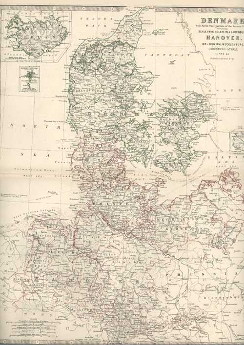 Antique Map of Denmark by Keith Johnston, c1875