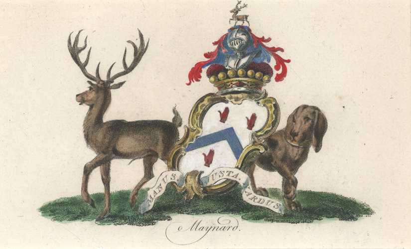 Heraldic Coat of Arms. Maynard Crest with deer & dog. Catton c1790