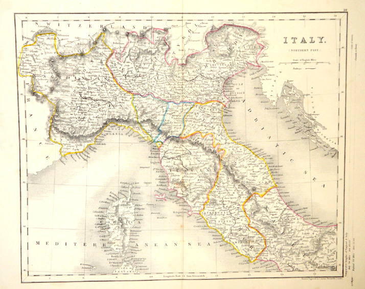 Antique map of Italy (northern part) by J.Archer c1847.