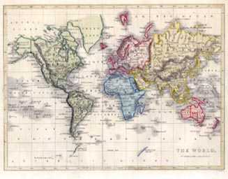 The World on Mercator's Projection antique map. Hughes antique map c1860