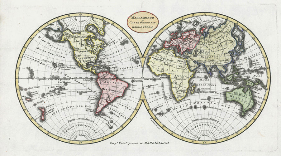 Mappamondo o Carta Generale della Terra. Barbiellini world map c1806
