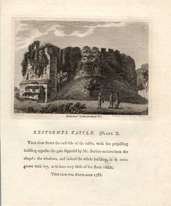 Grose engraving of Restormel Castle, Cornwall with history. c1785