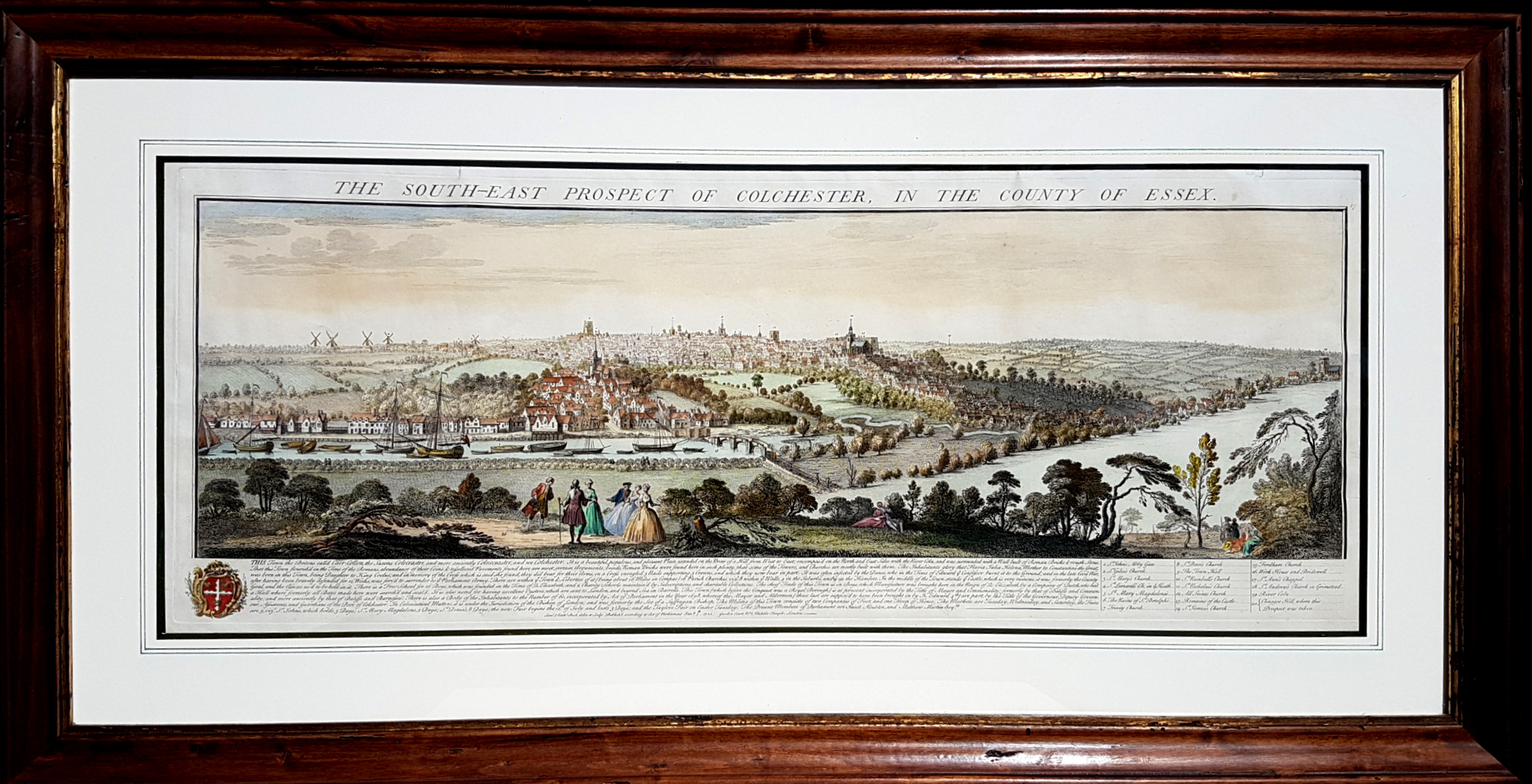 Framed. Buck's South-East Prospect of Colchester, Essex, c1741.