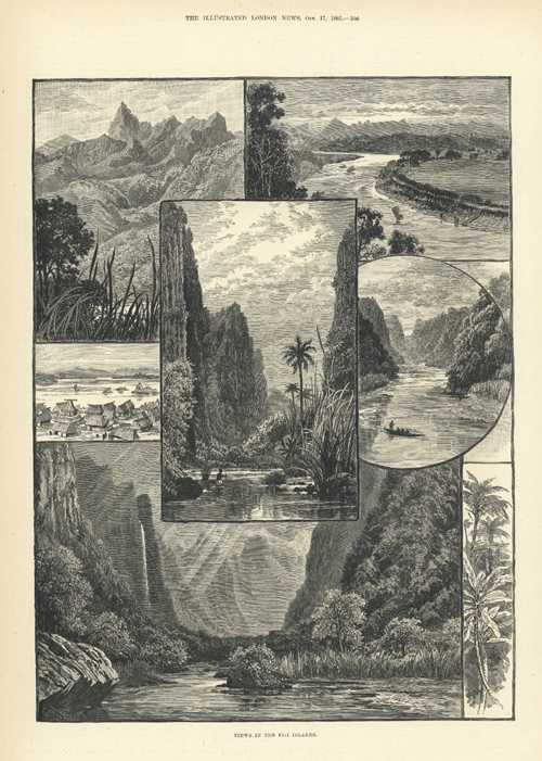 Fiji. Beautiful Views in the Fiji Islands. Antique Engravings c1885