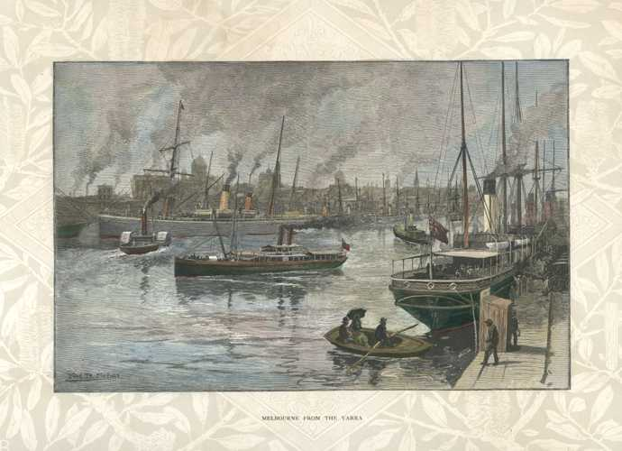 Melbourne from the Yarra antique engraving-lithograph c1886