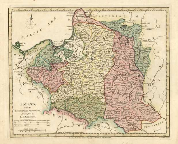 Poland Antique Map from the best authorities. Wilkinson c1794.