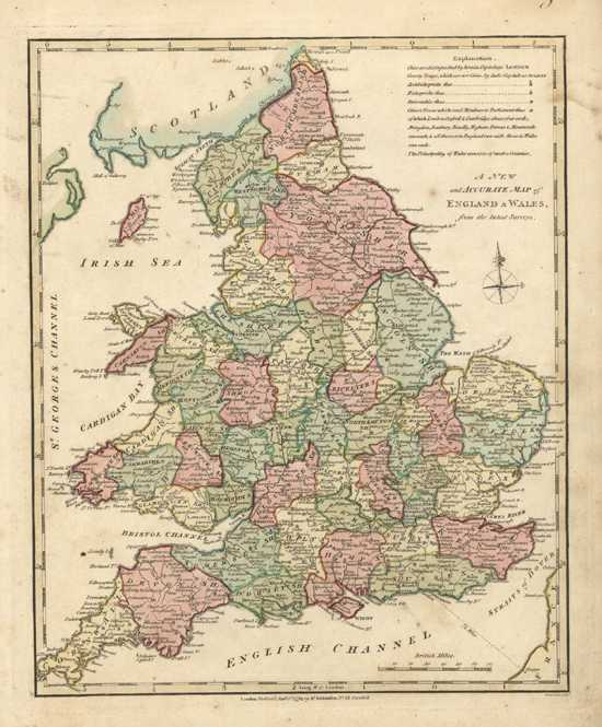 A New & Accurate Map of England & Wales. Wilkinson Antique Map c1794