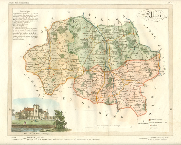 Allier department, Auvergne Rhones-Alpes region, France antique map. Lorrain c1836