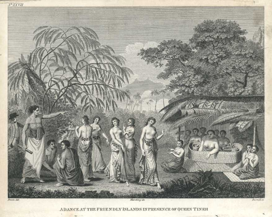 Tonga. Friendly Islands in Presence of Queen Tineh. c1800