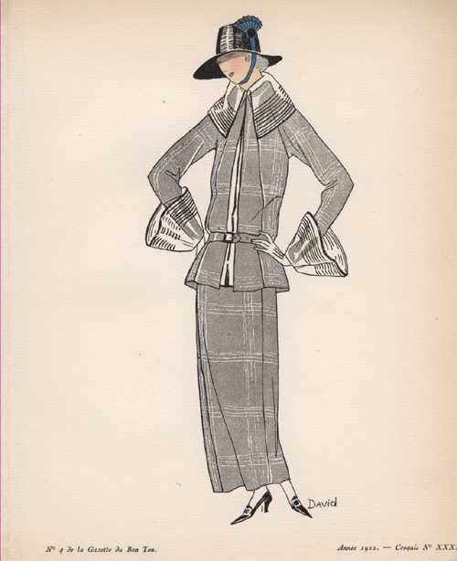 1920's Winter Outfit: Collar, Cuffs & Hat. Sketch 13 by David.
