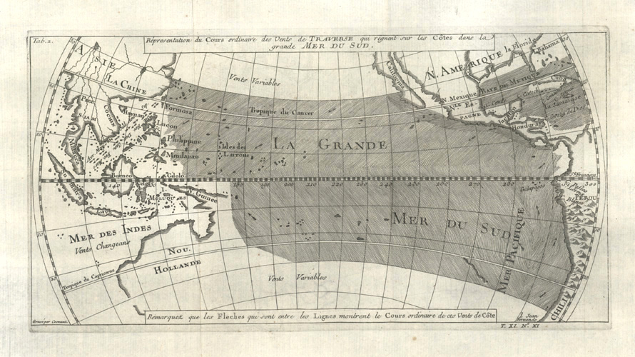 Pacific Ocean winds antique map by Bellin c1753.