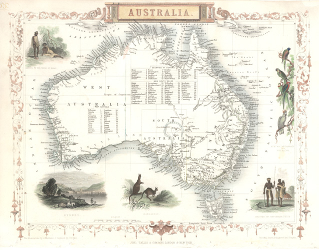 Tallis Australia decorative antique map - Sydney, aborigines, fauna c1851.