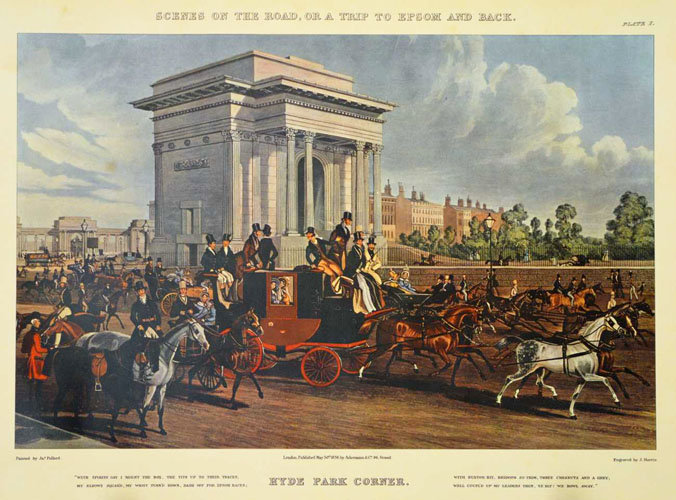 Hyde Park Corner, London 18th century coaching scene.