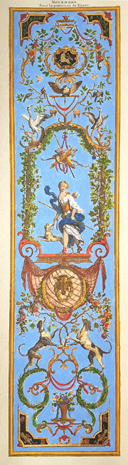 "November ""Novembre"" 18th century classical calendar panel print."