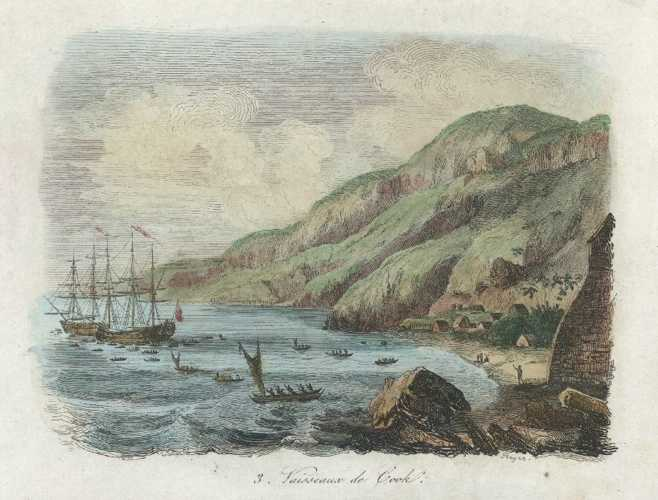 Hawaii Karakakooa Bay with Captain Cook's vessels. D'Urville c1835