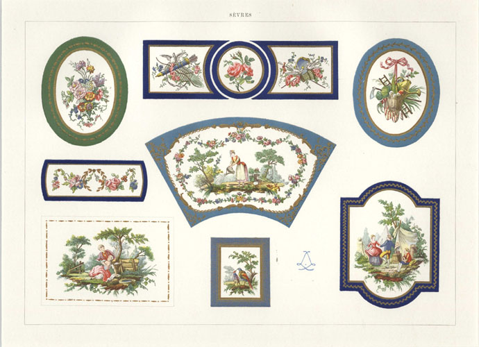 Beautiful Sevres Porcelain Furniture Plaques. Antique Print c1890.