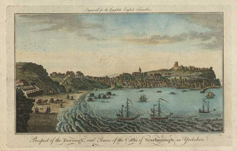 Prospect of Borough of Scarborough, Yorkshire. Spencer c1773