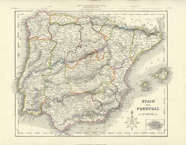 Spain and Portugal antique map by J. Archer c1860